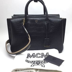 MCM Medium Milla Croc Embossed Leather